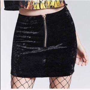 NEW Forever 21 black crushed velvet skirt
